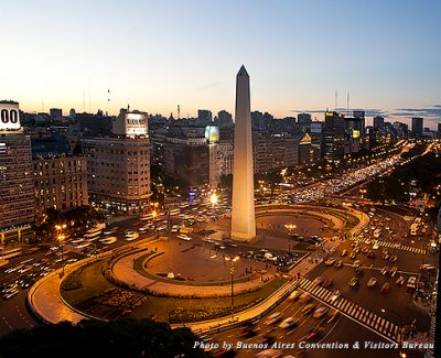 Obelisco and Avenida 9 de Julio, the widest avenue in the world, in Buenos Aires
