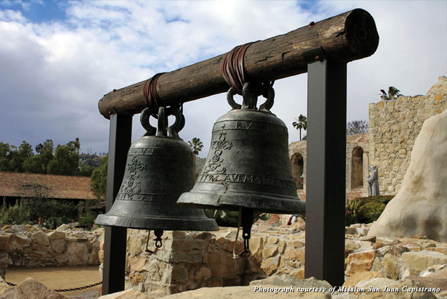 Two bells in front of the Bell Wall at the Mission San Juan Capistrano