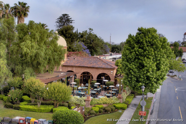 Looking out over Sarducci's restaurant patio and the Capistrano Depot