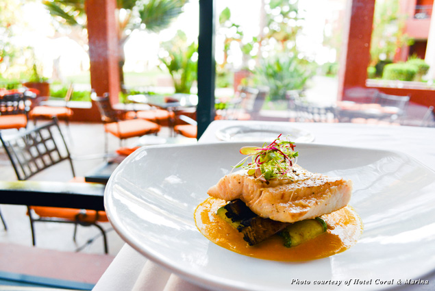 A colorful meal served at Bistro & Cava at the Hotel Coral & Marina