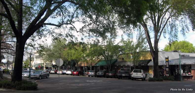 Boutiques, restaurants, and tasting rooms line the streets in downtown Healdsburg