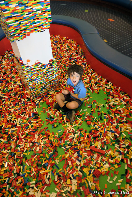 My son having a blast in the Lego pit at the Legoland Hotel