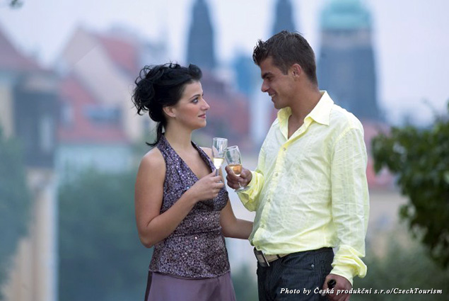 A couple toasts to love in Prague