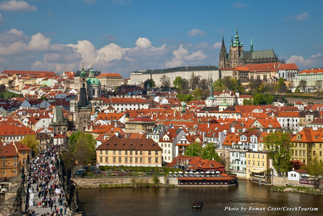 Looking out over Prague, with views of Prague Castle and the Charles Bridge