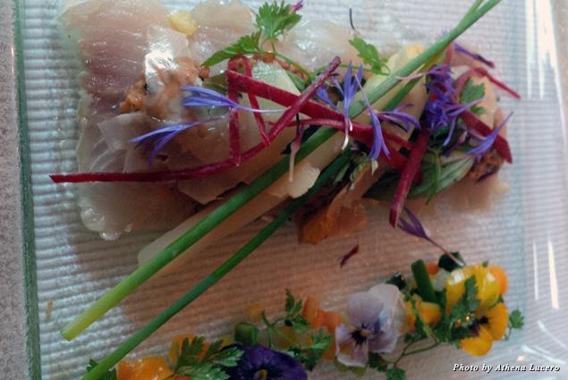At Les Jardines de la Tour, chef-owner Patrick Gazeau's exquisite course of raw filet of Fera, a rare indigenous fish from Lake Geneva