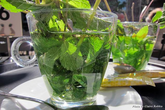A glass of Dutch mint tea in Amsterdam