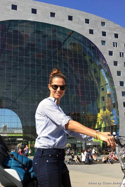 Riding a bike in Rotterdam