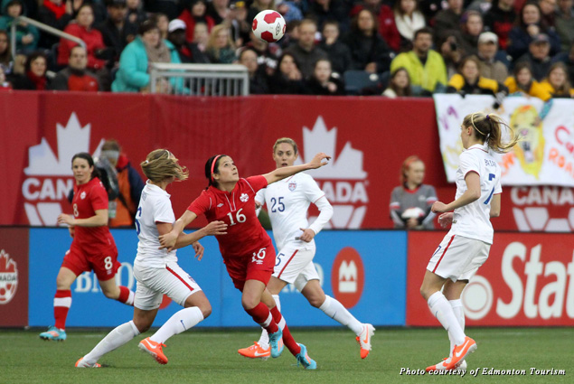 Canada and United States women's soccer teams play each other on the field