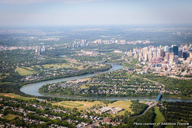 Bird's-eye view of Edmonton