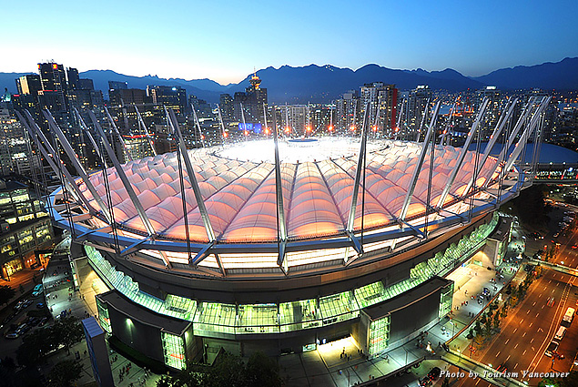 Aerial view of Vancouver stadium BC Place