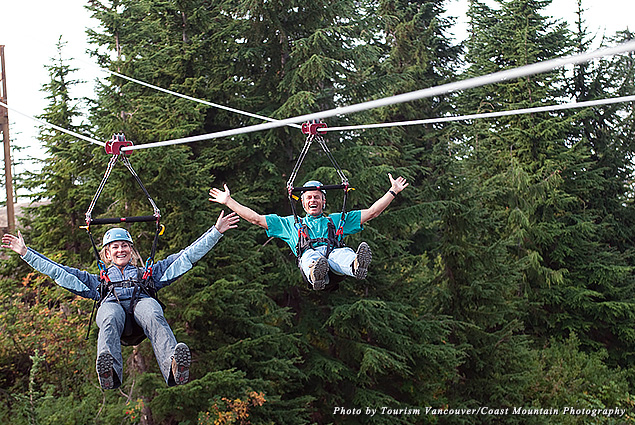 Two people zip line on Grouse Mountain