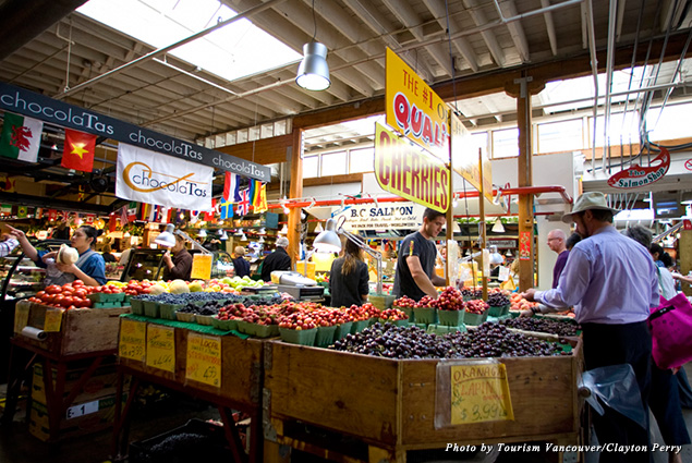 People shop at the Granville Island Public Market