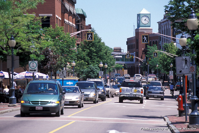 A street in downtown Moncton