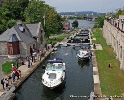 Pleasure boats on the Rideau Canal Locks in Ottawa