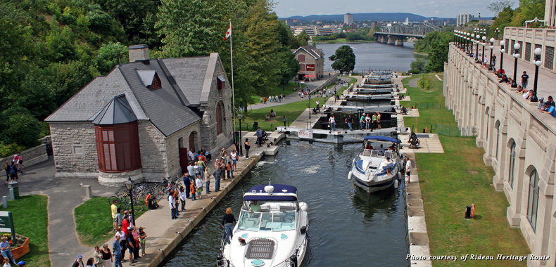 Pleasure boats on the Rideau Canal Locks in Ottawa