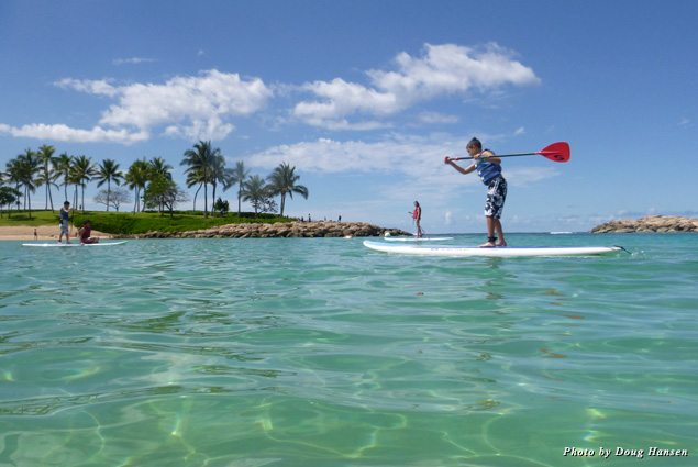 The lagoon offered a safe, calm place for swimming, paddle boarding, kayaking, and snorkeling