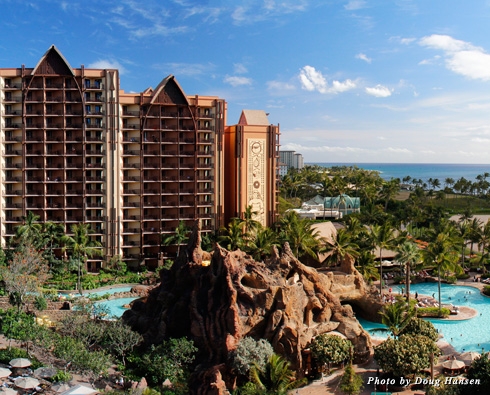 Exterior of Aulani Resort on Oahu