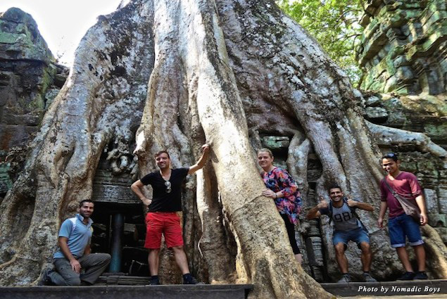 Ta Prohm temple with our friends visiting us from London