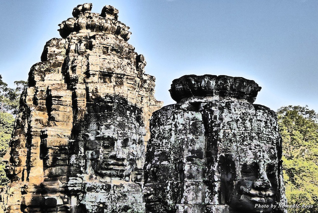 Faces carved into the Bayon temple at Angkor Thom
