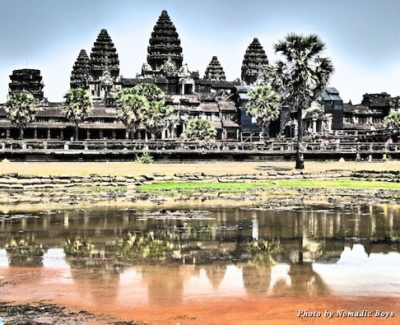 Angkor Wat reflected in a nearby pond