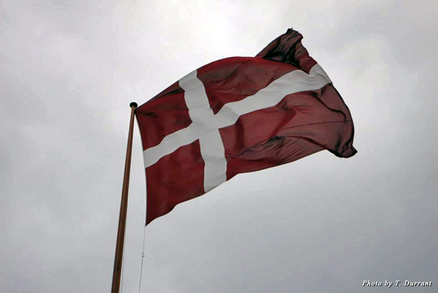 The flag of Denmark flies over Copenhagen