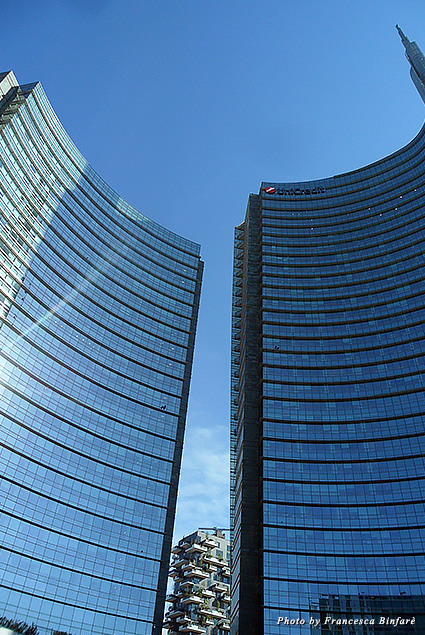 New skyscrapers in the city center as seen from Piazza Gae Aulenti
