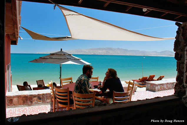 The view from Alfonsina's restaurant at Gonzaga Bay of intense blue water and desert hills was special