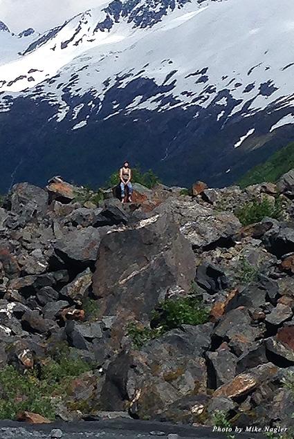 Solo on a glacier mountain