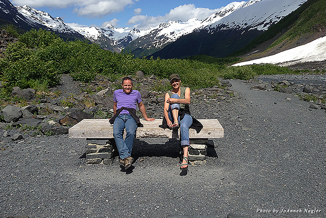 Stopping to sit on a glacier path