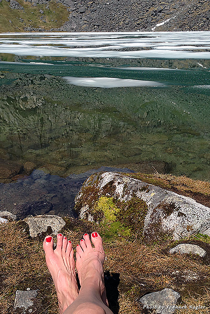 Pedicure meets glacier at Reed Lake
