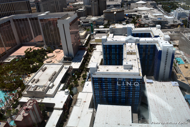View of the LINQ hotel's exterior from the High Roller