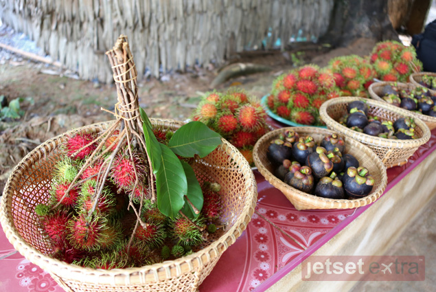 Colorful local fruits gathered in baskets at the Chong Changtune Live Eco-Museum