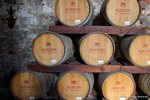 Stacked wine barrels at Tsantali Winery