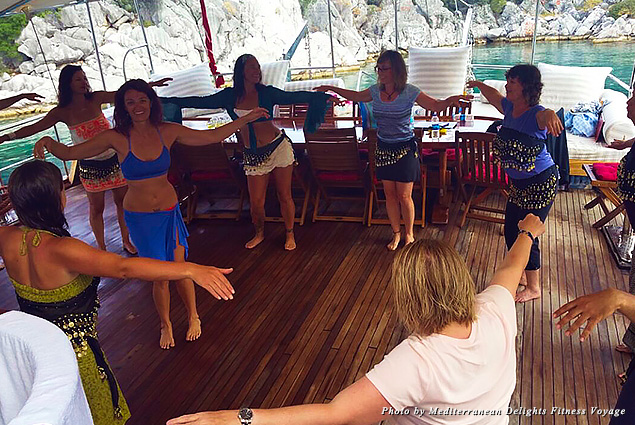 Attempting to belly dance on the deck