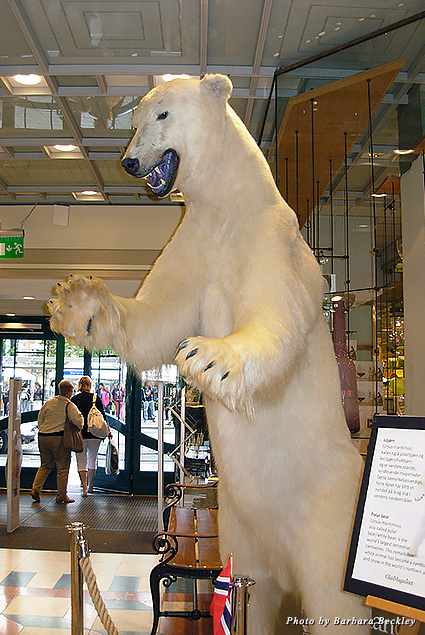 A giant Polar bear greets shoppers inside the Den Norske Husfliden department store