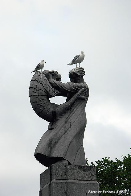 Seagulls pose atop a masterwork by Gustav Vigeland in Frogner Park