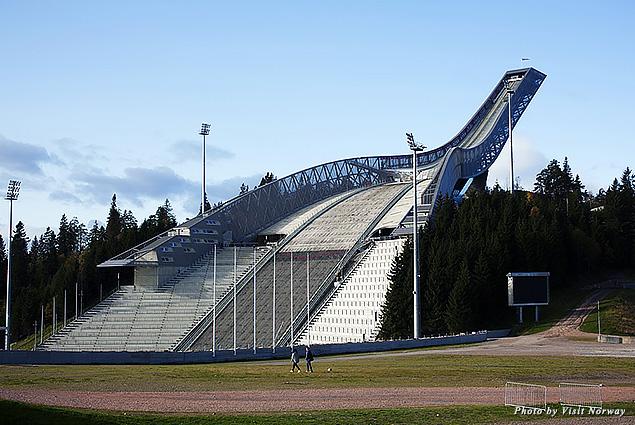 In summer, thrill-seekers zip-line down the Holmenkollen Ski Jump in the hills above Oslo