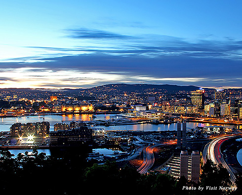 Oslo at night viewed from the Ekeberg Restaurant