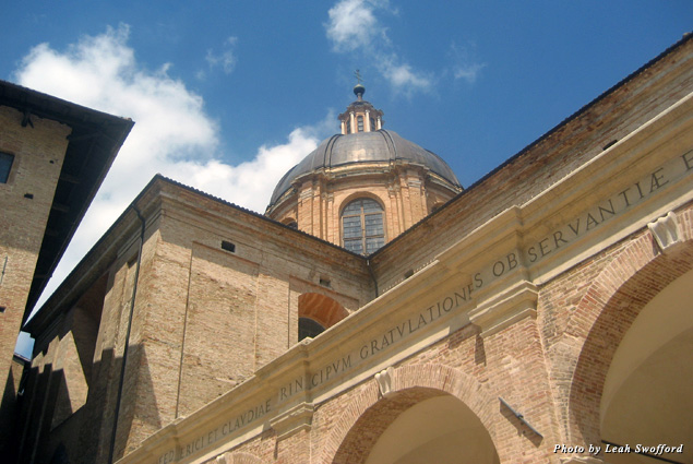Looking up at the dome of Urbino's Duomo