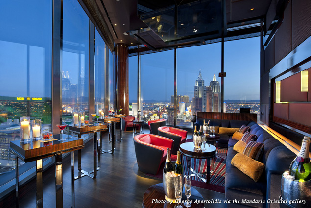 Dramatic views from the Mandarin Oriental, Las Vegas as the sky gets darker and the lights get brighter