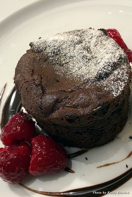 Decadent warm dark chocolate Pinot cake dessert