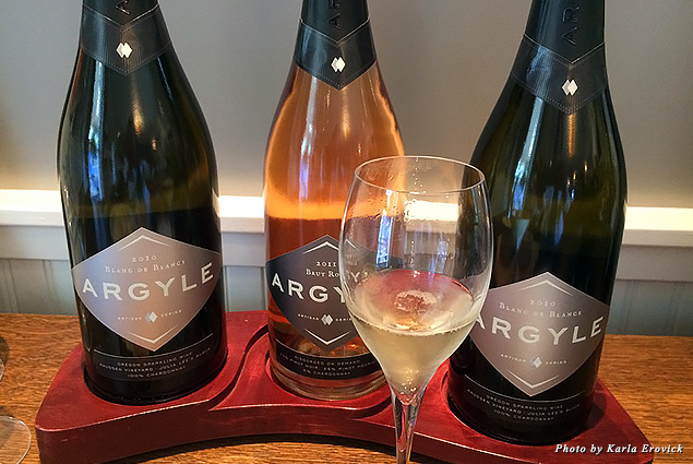 Bottles and a glass of bubbly at Argyle