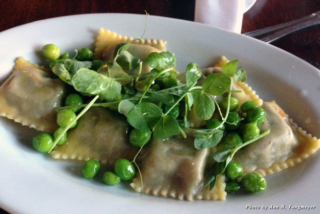 Ravioli dish at the Paddock Club