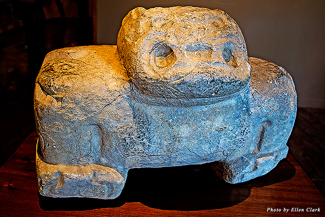 A pre-Columbian statue at the Larco Museum