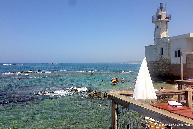 Looking out at the water in the small beachside city of Tyre