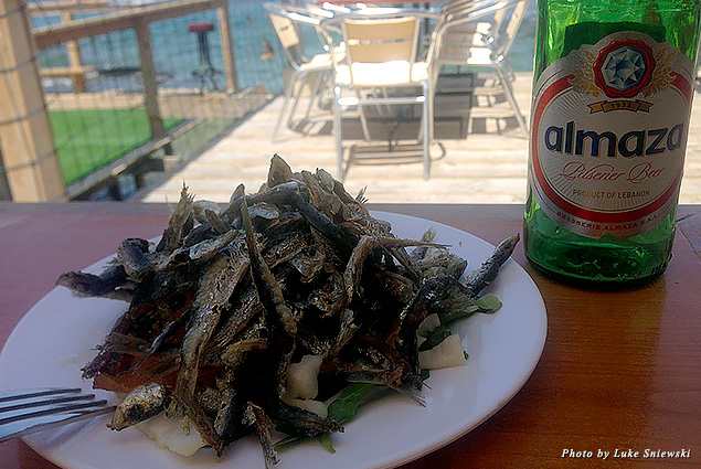 Fried baby sardines, a local favorite, served at a beach bar in Tyre