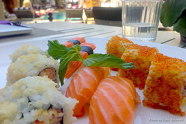 Sushi served poolside at Phoenicia