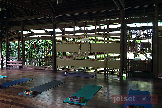 Yoga mats set up in rows for a morning class at Spa Koh Chang