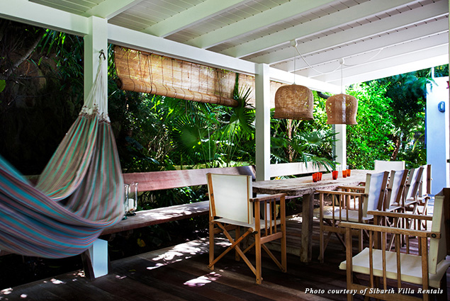 Villa Bibi's deck offered both outdoor dining and lounging in hammocks