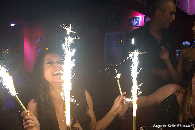 Birthday sparklers at Le Ti St. Barth
